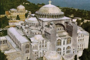 Hagia Sophia Cathedral, built in 537, reconstuction picture